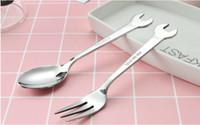 meyve çatalı şekil toptan satış-100 Adet / grup Yaratıcı Anahtarı Şekli Sofra Ev Mutfak Paslanmaz Çelik Çatal Kaşık Hediye Meyve Dessrt Salata Forks Çatal SN1188