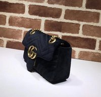 Wholesale makeup bag bow - Find Similar Endorsed Free shiopping 2018 New gift Fashion black chain makeup bag famous luxury party bag Marmont velvet shoulder bag Women