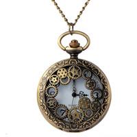 магазин часов оптовых-Ретро бронзовый Gear полые карманные часы с цепи мужчины стимпанк ожерелье часы подарок для любителей свободного шопинга Оптовая