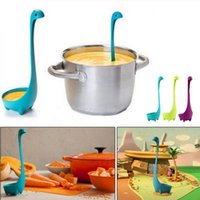 Wholesale wholesale plastic utensils - Loch Nessie Monster Spoon Long Handle Filter Colander Stand Upright Kitchen Utensil Plastic Cooking Tools OOA5339