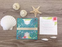 Wholesale flowers hibiscus - Turquoise Laser Cut Destination Wedding Invitation with gold belly band and pink watercolor hibiscus flowers