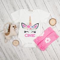 ingrosso caldo bodysuit-INS vestiti unicorno set neonato in cotone tuta + rosa scaldamuscoli vestiti 2pcs vestito carino set ragazze tuta pagliaccetto LC742