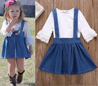 Wholesale little girl suspender style - 2018 summer spring girls boutique outfits kids clothing sets little girl clothes baby lace sleeve t shirts white + denim suspenders skirts