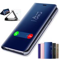 intelligenter fall großhandel-Clear View Spiegel Intelligent Mappen-Telefon-Kasten für Samsung Galaxy S10 S9 S8 S7 Rand Hinweis 9 8 Smart-Fenster-Abdeckung Schlag-Leder-Überzug-Fall