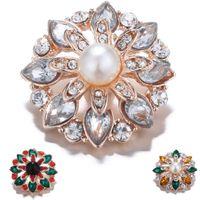 botones de perlas de cristal de moda al por mayor-Alta Cantidad 18mm Botones A Presión Moda 3 Color Perla Perlada Crystal Metal Ginger Corchetes DIY Noosa Accesorios de La Joyería