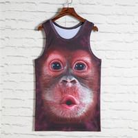 Wholesale men leopard vest resale online - 2018 Fashion d Animal Print Vest Men Gorilla Monkey Tiger Cat Dog Wolf Hamster Leopard Funny Tank Tops Male Sleeveless T Shirts