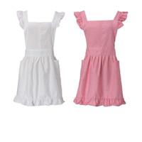 tablier femme rabattable achat en gros de-Coton blanc / rose doux kid fille femmes femme de chambre potin mignon tablier victorien robe fantaisie volants cosplay costume