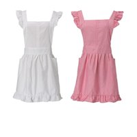 Wholesale pink maid cosplay online - Cotton White Pink Sweet Kid Girl Women Maid Pinafore Cute Apron Victorian Fancy Dress Ruffle Cosplay Costume