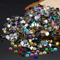 Barato Strass De Cristal De Tamanho Mista-Mixed Size Mixed Color 5000pcs / pack / set Flat Back Acrylic Rhinestones Nail Art Decorações Crystal Nail Round Flat Back Drill