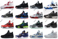 Wholesale Table Cat Box - High 4 Alternate 89 Shoes 4s BRED Royalty White Cement Fear Pack Fire Red Green Glow Sports Military Blue Black Cat Doernbecher oreo Sneaker