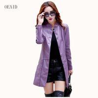 jaqueta de couro feminina roxa venda por atacado-Plus size 3XL Moda jaqueta de couro mulheres jaqueta de couro longo 2017 primavera senhoras jaquetas e casacos femininos jaqueta roxa outerwear