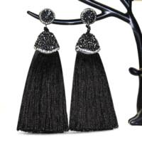Wholesale silk bohemia - 2018 Bohemia Brand Long Crystal Silk Tassel Earrings Handmade High Quality Grey Black Drop Dangle Earrings For Women Jewelery