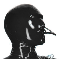 100% Pure Latex Hoods with Fixed Mouth Tube and Nose Tube Collocation Latex Catsuits Rubber Fetish Mask Handmade Cosplay Party Wear