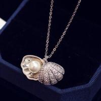 ingrosso collana coreana del diamante della perla-Modo caldo di vendita coreana tendenza conchiglie perle collana di diamanti temperamento selvaggio clavicola collana corta collana femminile