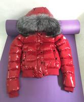 kapitone kısa ceket kadın toptan satış-Markalı Kadınlar Armoise Büyük Kürk Kısa Uzunluk Aşağı Ceket Tasarımcı Ayrılabilir Hood Ultra Hafif Kapitone Kabanlar