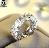 Wholesale eternity ring bands - ORSA JEWELS Luxury One Row 17 pcs Shine 0.7cm AAA Austrian Cubic Zirconia Eternity Rings Fashion Silver Color Wedding Band OR146