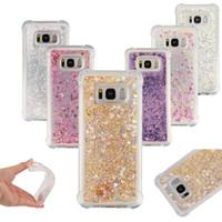 clip gummi großhandel-Für iPhone X Xs Max Xr 8 Plus 7 Samsung S9 S8 Plus Bling Glitter Flüssigkeit Dynamische Schwimmende Love Hearts Rubber Case Cover