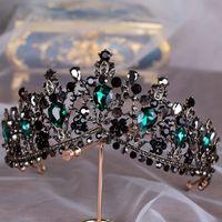ingrosso accessori europei di capelli nozze-KMVEXO Diademi di cristallo verde europeo Vintage nero strass Pageant Crown Barocco nuziale Accessori per gioielli da sposa capelli regalo