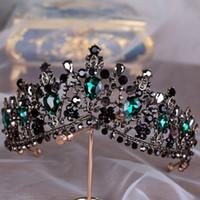 coronas del desfile de la vendimia al por mayor-KMVEXO Europeo Verde Cristal Tiaras Vintage Negro Rhinestone Pageant Corona Barroca Nupcial Joyería Del Pelo de La Boda Accesorios de Regalo