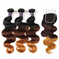 Wholesale free brazilian hair weave - Ishow Ombre Brazilian Body Wave Human Hair Bundles with Lace Closure Free Part Peruvian Remy Hair Bundles with Closure T1B
