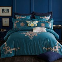 Wholesale Egyptian Cotton Bedding Sets Purple - Oriental Embroidered Luxury Bedding Set Egyptian Cotton Tribute Silk Bedclothes 4 6Pcs King Queen Size Bed Sheet set Duvet cover
