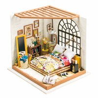 Wholesale Furniture Bedroom Sets - Best Selling 2017 3D Puzzle Kawaii DIY Dollhouse Miniature Handmade Furniture Valentine's Day Bedroom Set Furniture DG107