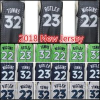 Wholesale butler jerseys - 2018 New 32 Karl-Anthony Towns 23 Jimmy Butler 22 Andrew Wiggins jersey Men stitched Embroidery Grey Blue White Green Basketball Jerseys