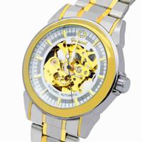 relógios transparentes de cinto de aço venda por atacado-Wengle Novo GUCAMEL Oco Movimento movimento de Venda de faixa de Cinto de Moda de Luxo presente vestido relógios Mecânicos