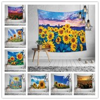 Wholesale woven bedding online - 10 Designs wall hang tapestry sunflower beach towel printing tablecloth bed sheet heronsbill home decoration supplies party backdrop