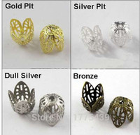 Wholesale gold filigree bead caps - Free Shipping Jewelry Finding 11MM Filigree Bead End Cap Cone Gold Silver Bronze Nickel Plated (60Pcs=1Lot ! )