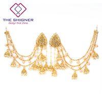 hint saç zinciri takı toptan satış-Toptan ile Bahubali Koleksiyonu GoldColor İnciler Kundan Jhumka Küpe Saç Zinciri Ile Hint Bollywood Tasarımcı Takı
