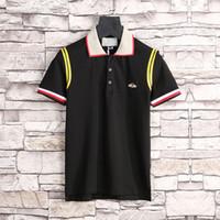 nouveau col design pour chemises achat en gros de-Runway Light Polo en coton avec G stripe t shirt pour homme Nouveau arriver Italie design marque contraste col polo shirt hommes mode ow polo