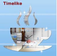 tasarım akrilik ayna toptan satış-Diy Sıcak 3d Akrilik Ayna Duvar Saati kahve kupası büyük saat modern tasarım lüks 3d ayna saatler izle
