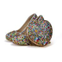 ingrosso scarpe da sposa scarpe piccole-Scarpe da festa con tacco alto con strass di colore misto con borsa a forma di cuore Scarpe da sposa da sposa Scarpe da cerimonia per adulti con pochette