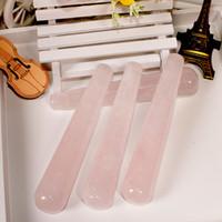 Wholesale pleasure massager - 11cm Natural Rose Massage Roller Face Massager Thin Face Instrument Wand Guasha Crystal Pleasure Stick for Women