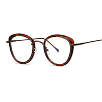 615208569c 3256 cat eye flat mirror men and women retro fashion frame large frame half  metal glasses can be equipped with myopia JW