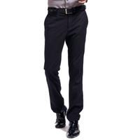anti kırışıklık pantolonu toptan satış-Lesmart erkek Kısa İş Örgün Anti-kırışıklık Kolay bakım Düz Uzun Düz Slim Fit Flap Cepler Yüksek dereceli Takım Elbise Pantolon
