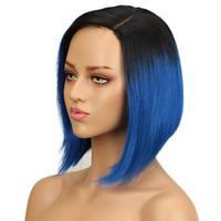 yaki peluca de encaje remy recta al por mayor-Pelucas brasileñas rectas del pelo humano del pelo de Remy del 100% para las mujeres negras Pelucas de cordón con la peluca de seda del yaki del color azul T1B del pelo del bebé