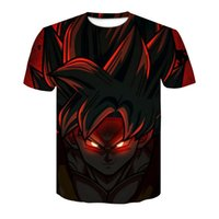 Wholesale dragon 3d - anime Dragon Ball Z 3D Compression T-shirt Vegeta Super Saiyan Goku Gold Eye Men's High elasticity Slim shirt Fitness cosplay Tee tops