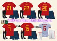 Wholesale green football socks - 2018 world cup Spain Kids kit soccer jerseys football Kits kids uniform with socks camisetas de futbol MORATA ASENSIO ISCO SILVA RAMOS