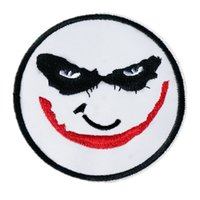 accesorios joker al por mayor-8 CM bordado payaso Joker parche de costura de hierro en la máscara insignia para el bolso de Jeans sombrero apliques DIY trabajo hecho a mano etiqueta decoración accesorios