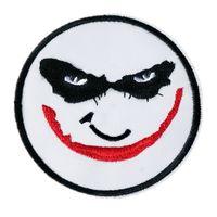 8cm şapka toptan satış-8 CM Işlemeli Palyaço Joker Yama Dikiş Demir Maske Rozeti Için Çanta Kot Şapka Aplikler DIY İşi Sticker Dekorasyon Giyim Aksesuarları