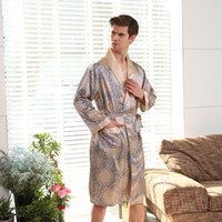 New Spring Autumn Luxury Bathrobe Mens Print Plus Size Silk Satin Pajamas  Kimono Summer Male Nightgown Chinese Silk Robe 412bc2f2f