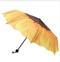 ingrosso parasole pieghevole anti uv-Ombrello da donna originale in girasole da donna 24cm Pieghevole da tre antivento antipioggia anti UV Ombrello da donna soleggiato da pioggia