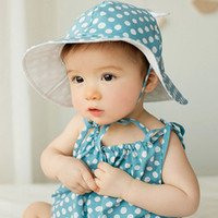 Wholesale baby polka dots hat for sale - Group buy Sweet Baby Sunhat Newborn Infants Cotton Bucket Cap Cute Outdoor Polka Dots Beach Ear Hats Summer Children Hat for M M