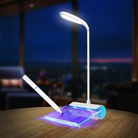 porta usb luz da noite venda por atacado-Controle de Toque portátil Noite luz Candeeiro de mesa com Placa de Mensagem Fluorescente 3-Modo de Brilho Porta USB lâmpada de Livro de cuidados Com Os Olhos