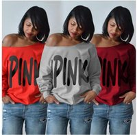 Wholesale Womens Tops Large - 2018 Spring Explosion Large Size Womens Letter Print Top , PINK Wide Round Neck Long Sleeve T-Shirt VETEMWNTS
