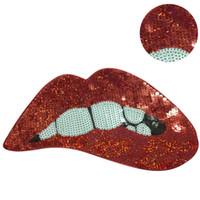 demir motifleri toptan satış-Başarmak aplike Aplikler Giysi Işlemeli payetler Kırmızı Dudak yamalar giyim DIY Motif Aplike 4 adet / takım için