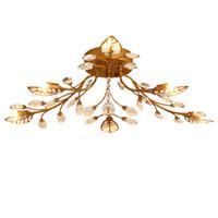 candelabros de bronce cristales al por mayor-Candelabros de techo de cristal de hierro E14 K9 plafón de cristal negro / Candelabros de techo de bronce decoración para el hogar estilo de iluminación de estilo campestre americano