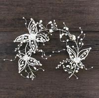 Wholesale butterfly hair comb wedding for sale - Handmade headwear new Crystal Butterfly Hair belt fringed Earrings Set White Wedding headwear hoop